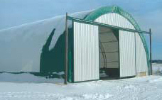 Example of a Diamond shelter used as storage.